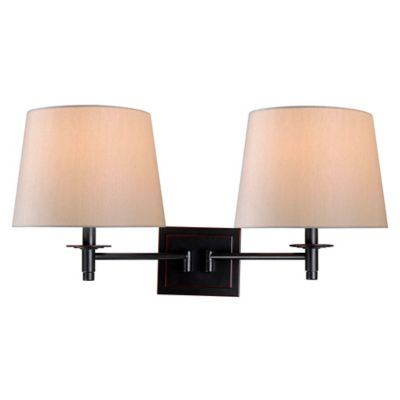 Fabric Wall Lamp Shades : Buy Kenroy Home Glenn 2-Light Swing Arm Wall Lamp in Bronze with Fabric Shades from Bed Bath ...